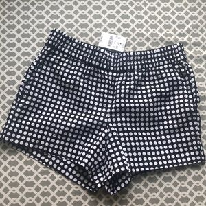 new w/ tags jcrew black & white polka dots shorts